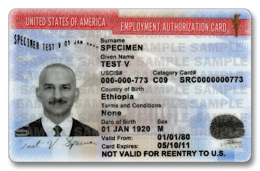 Sample EAD Card, Form I-766, which is the document issued when applying on I-765.