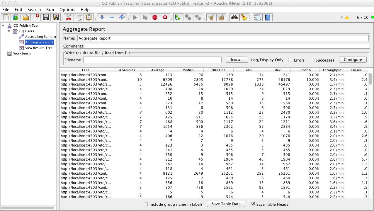 JMeter Aggregate Report View during run.