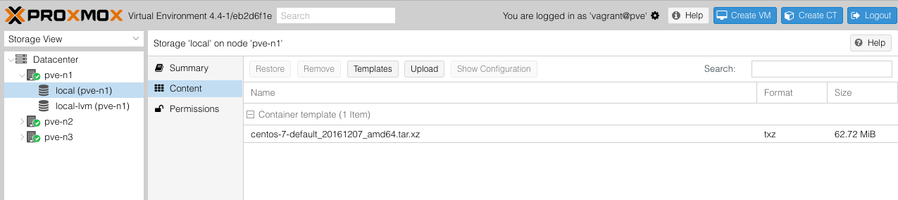 Navigate to  Storage View  >  node  >  local (node)  >  Content  to confirm that the container image has been added.