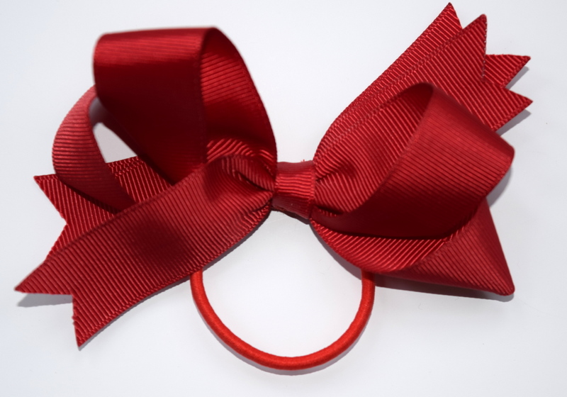 Large red bow on a hair elastic £5