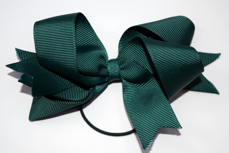 Large bottle green bow on a hair elastic £5