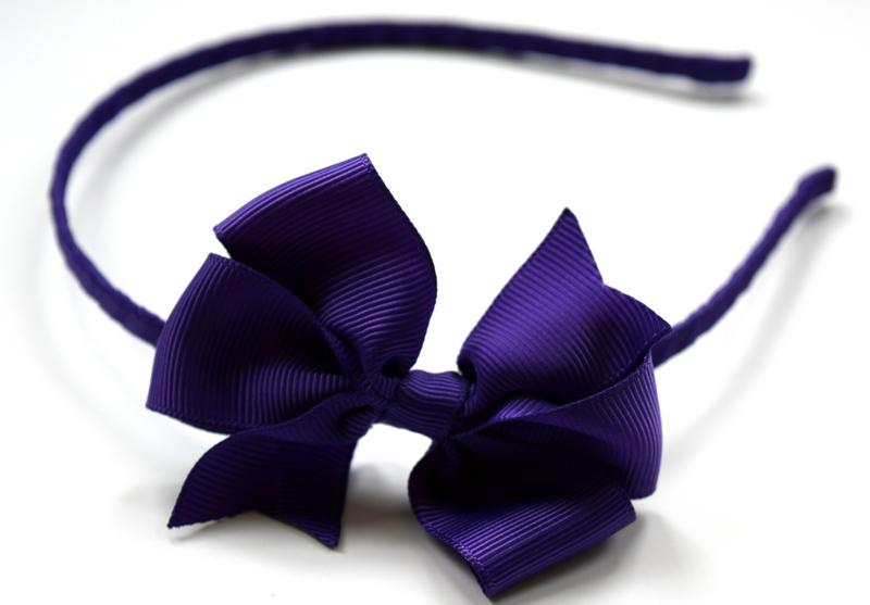 Hairband with medium purple grosgrain ribbon bow