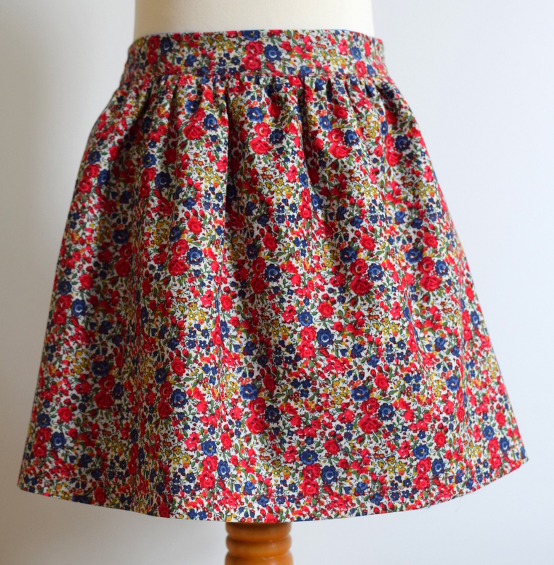 Emma & Georgina Liberty print corduroy skirt   Description: gathered, elastic waist  Sizes: available in 4y, 5y  From £32