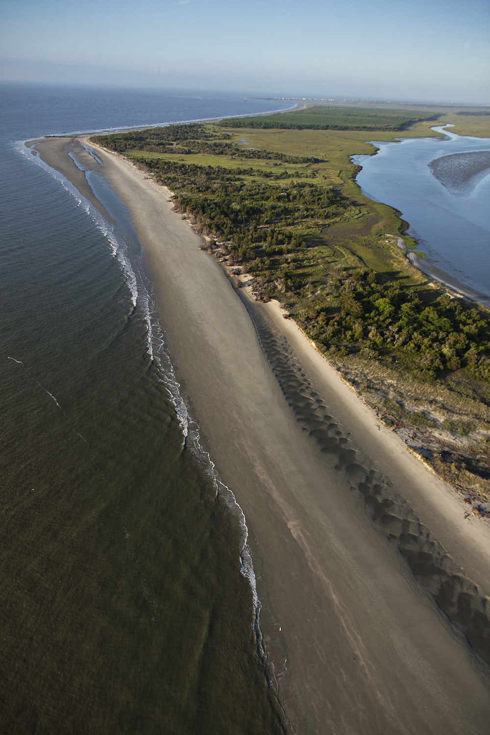 Aerial view of the beach and coastline of Morris Island in Charleston, South Carolina