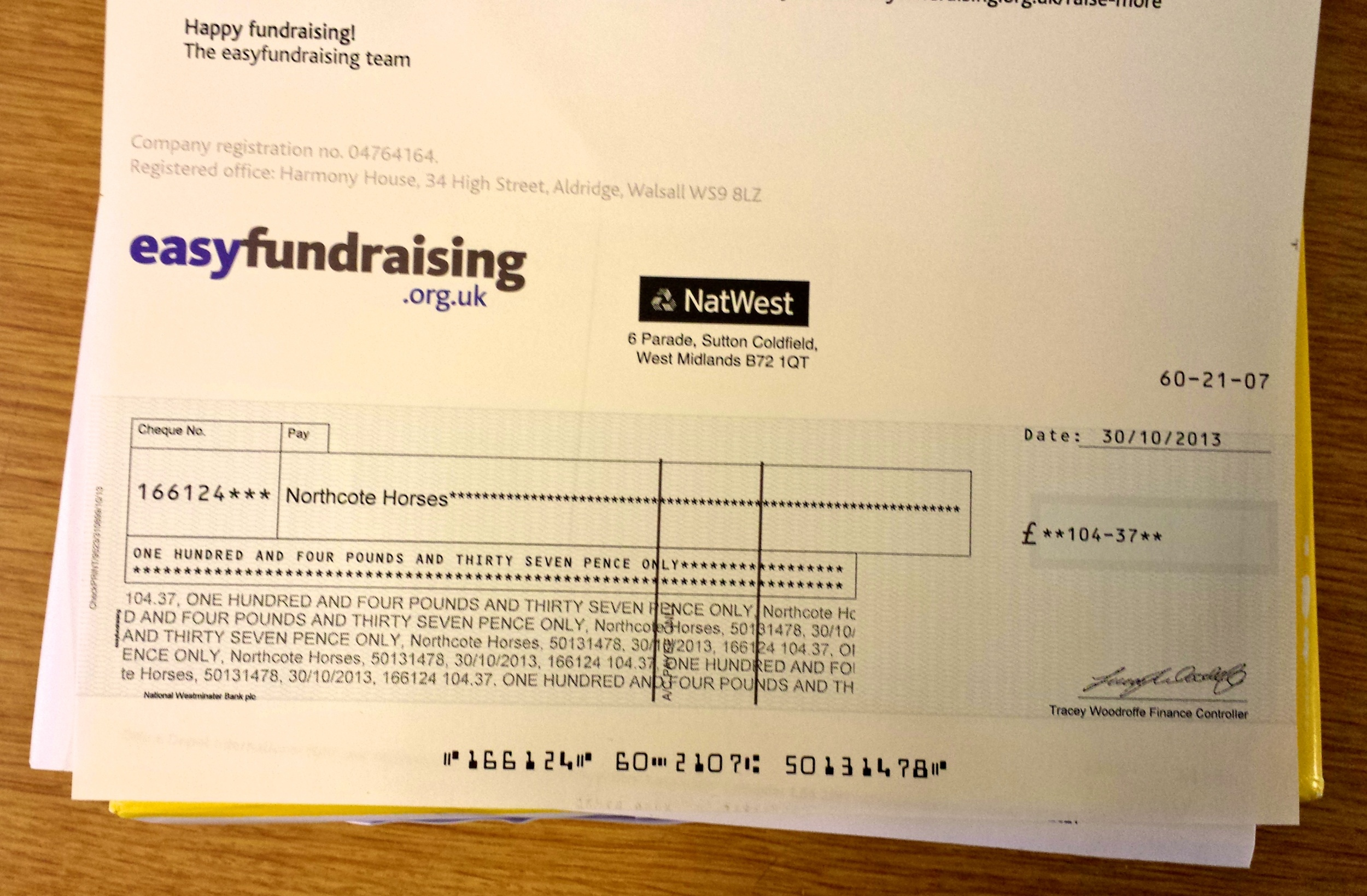 Our cheque from EasyFundRaising for over £100. Raised from supporters.