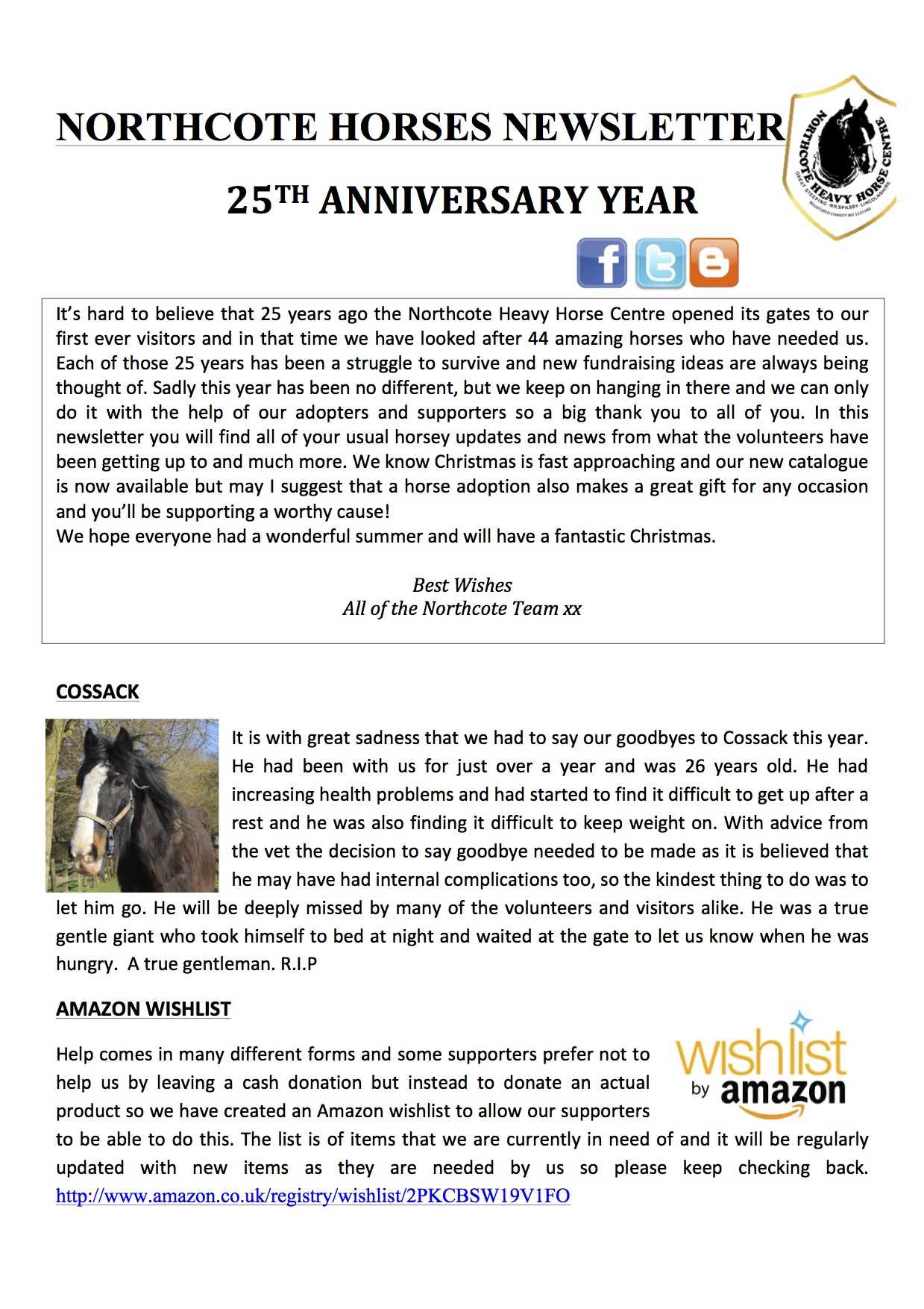 Newsletter Northcote Heavy Horse Centre