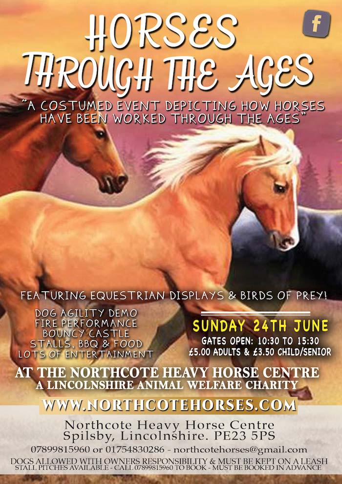 Through the Ages - Sunday 24th July 2018A costumed event depicting how horses have been worked throughout the ages from horse archery, war horses, police horses, circus, film and lots more!Adults: £5.00 - Child: £3.50To book a stall pitch please callus on 07899 815960or download our booking form here.