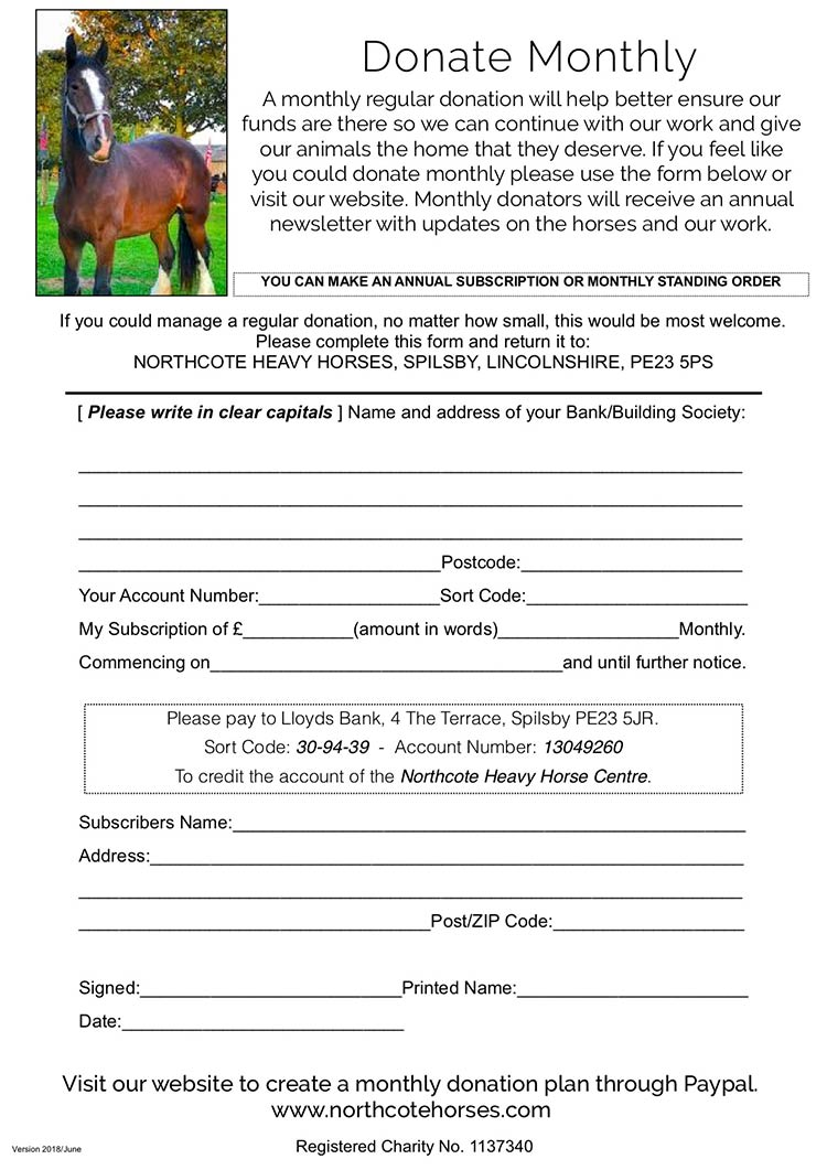 Monthly Donation Standing Order Form
