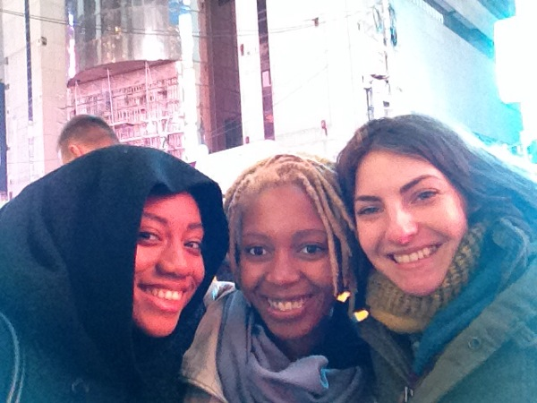 Our selfie in Times Square! I'm on the right, because we all look the same age :)