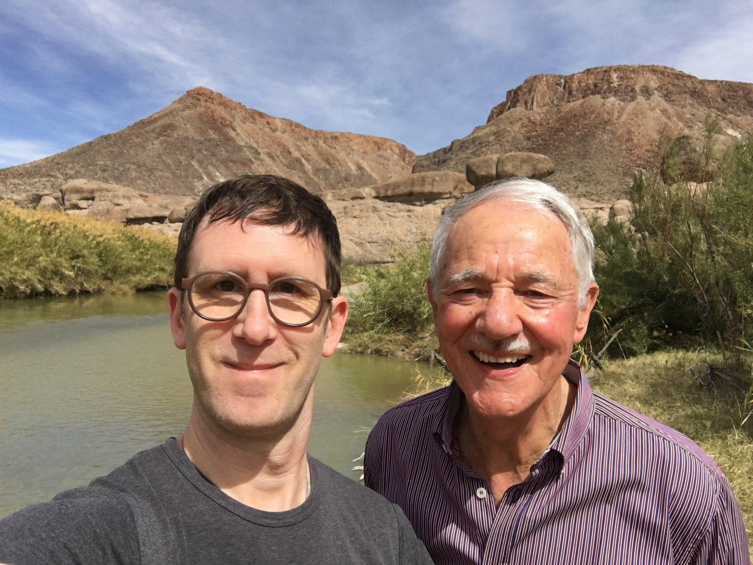 John Silvis and Mr. Karlheinz Essl on the Rio Grande, bordering Mexico