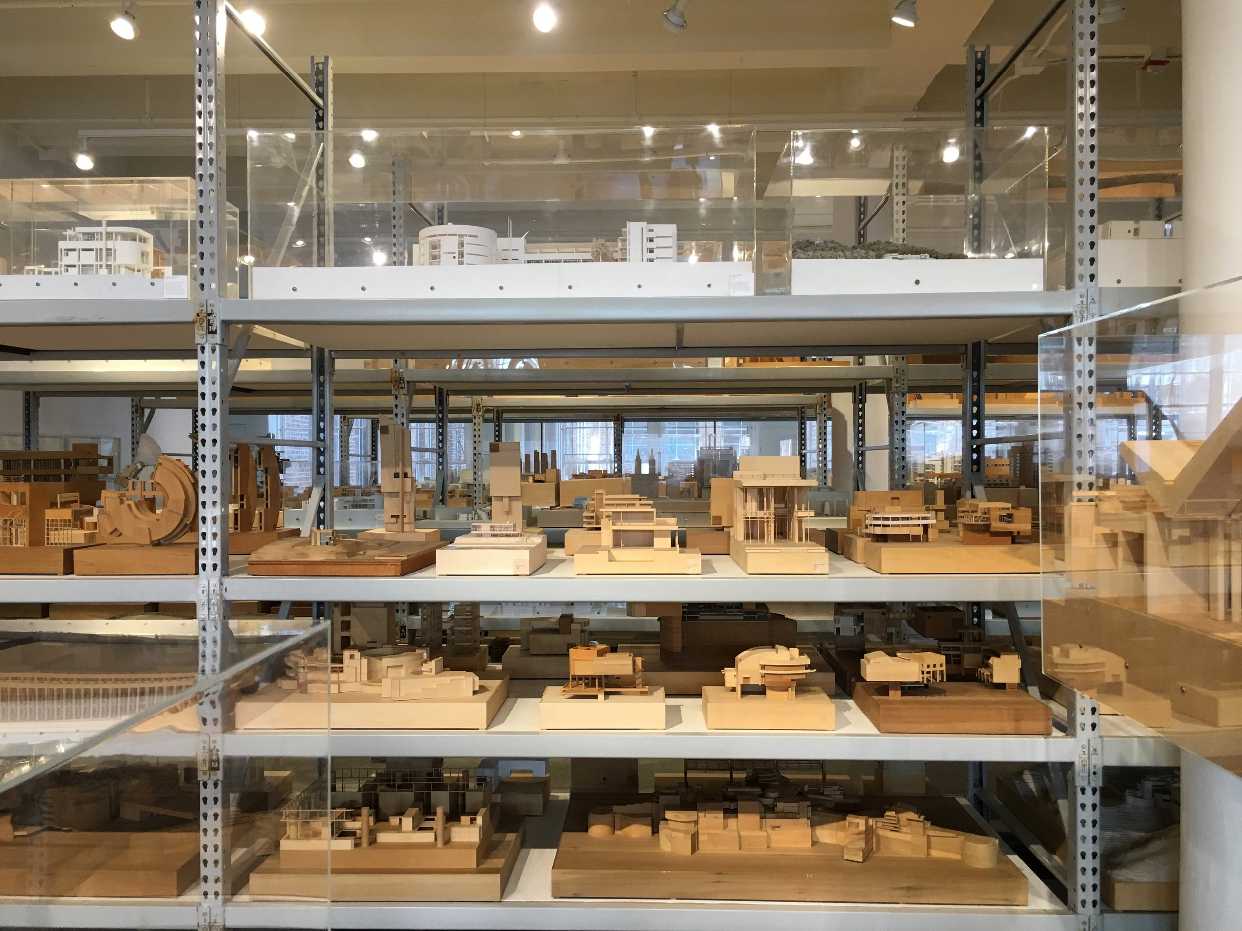 Various project models at the Richard Meier Archive, Mana Contemporary