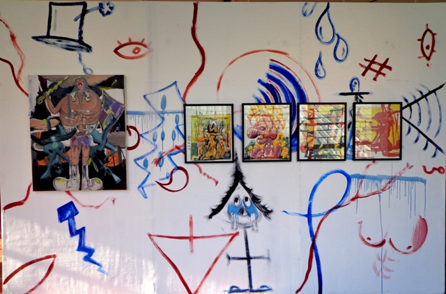 Partial exhibition view of Tropes of Expectation, featuring works by Ricafort.
