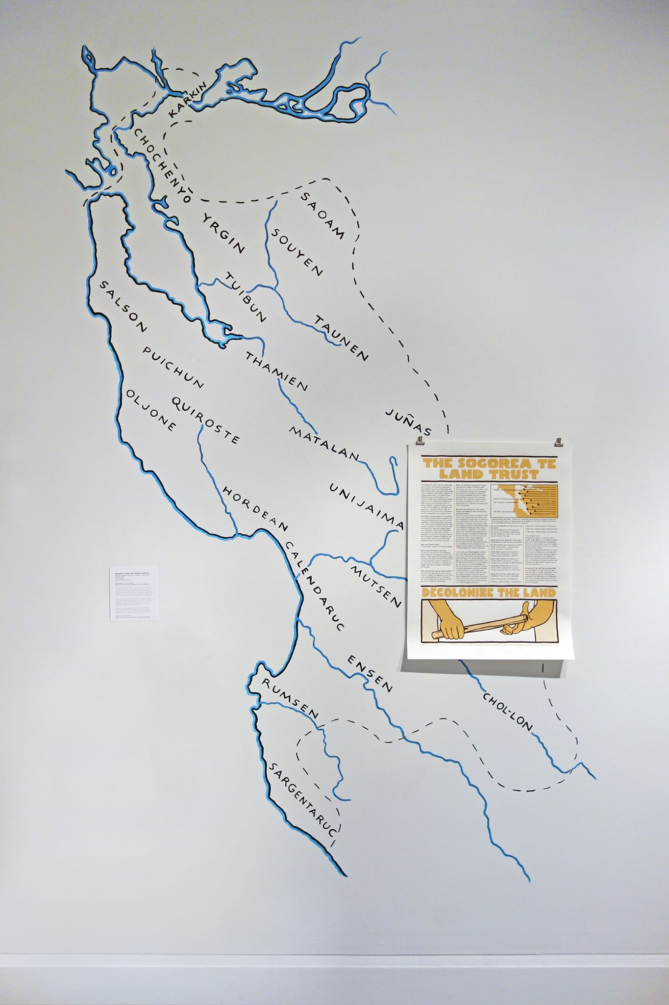 Map of Ohlone territory painted by Leslie Dreyer and Zeph Fishlyn with Jesus Barraza's print of the Sogorae Te' Land Trust Project   — with  Corrina Gould ,  Jesus Barraza ,  Jesus Barraza  and  Sogorea Te Land Trust .