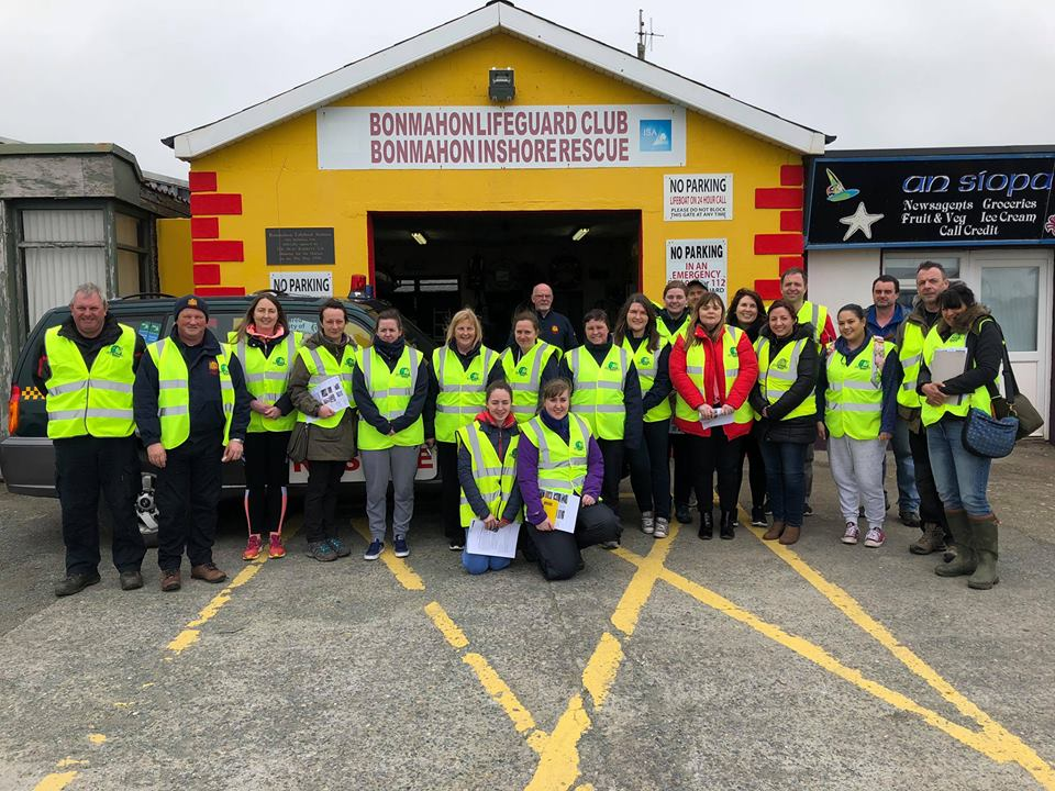 A group of newly trained rescue network volunteers at an event in Waterford in April 2018.