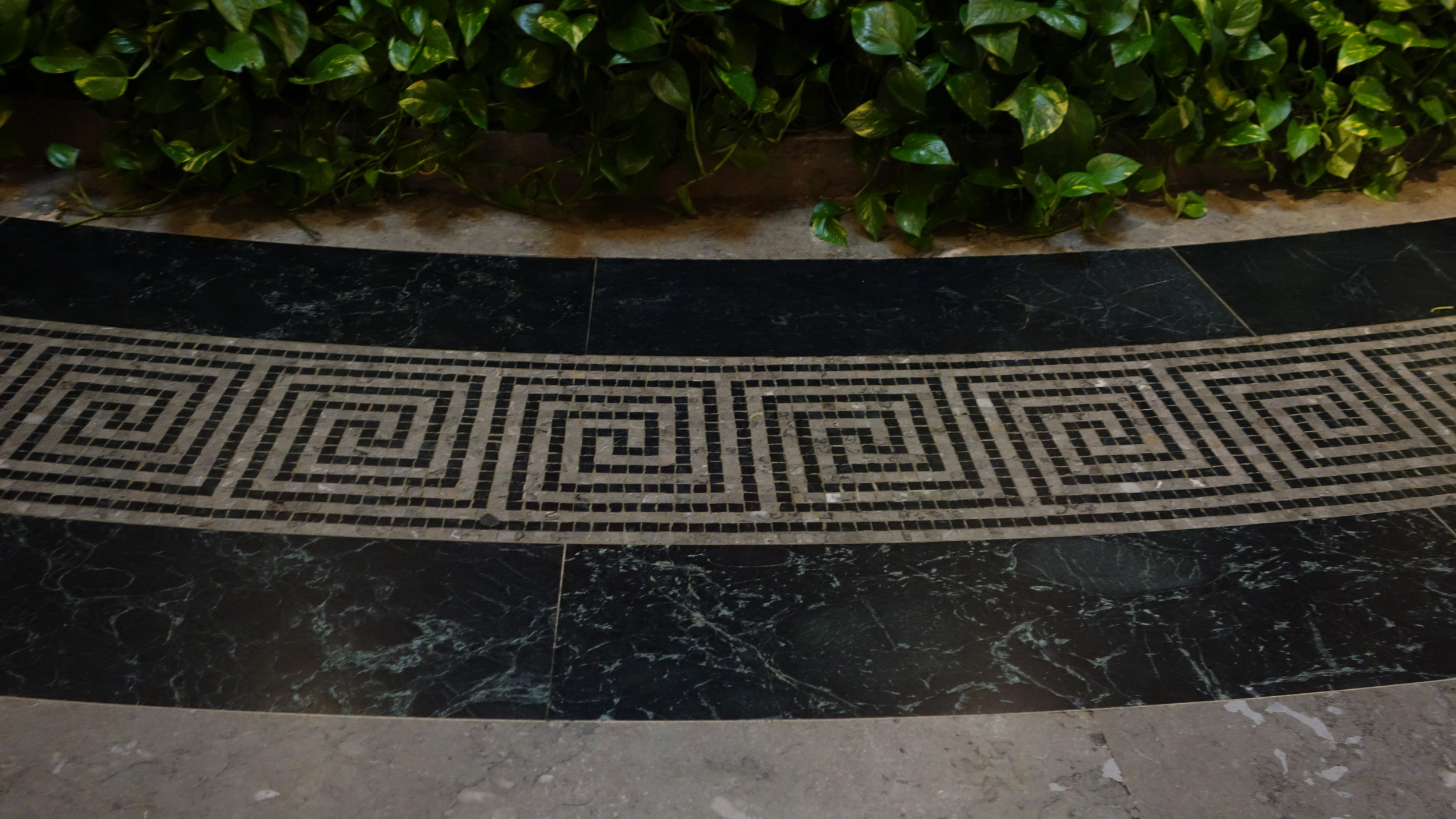 Greek key mosaic in atrium of National Gallery of Art - Doesn't this remind you of a Greek Key tape on the leading edge of a drapery panel?