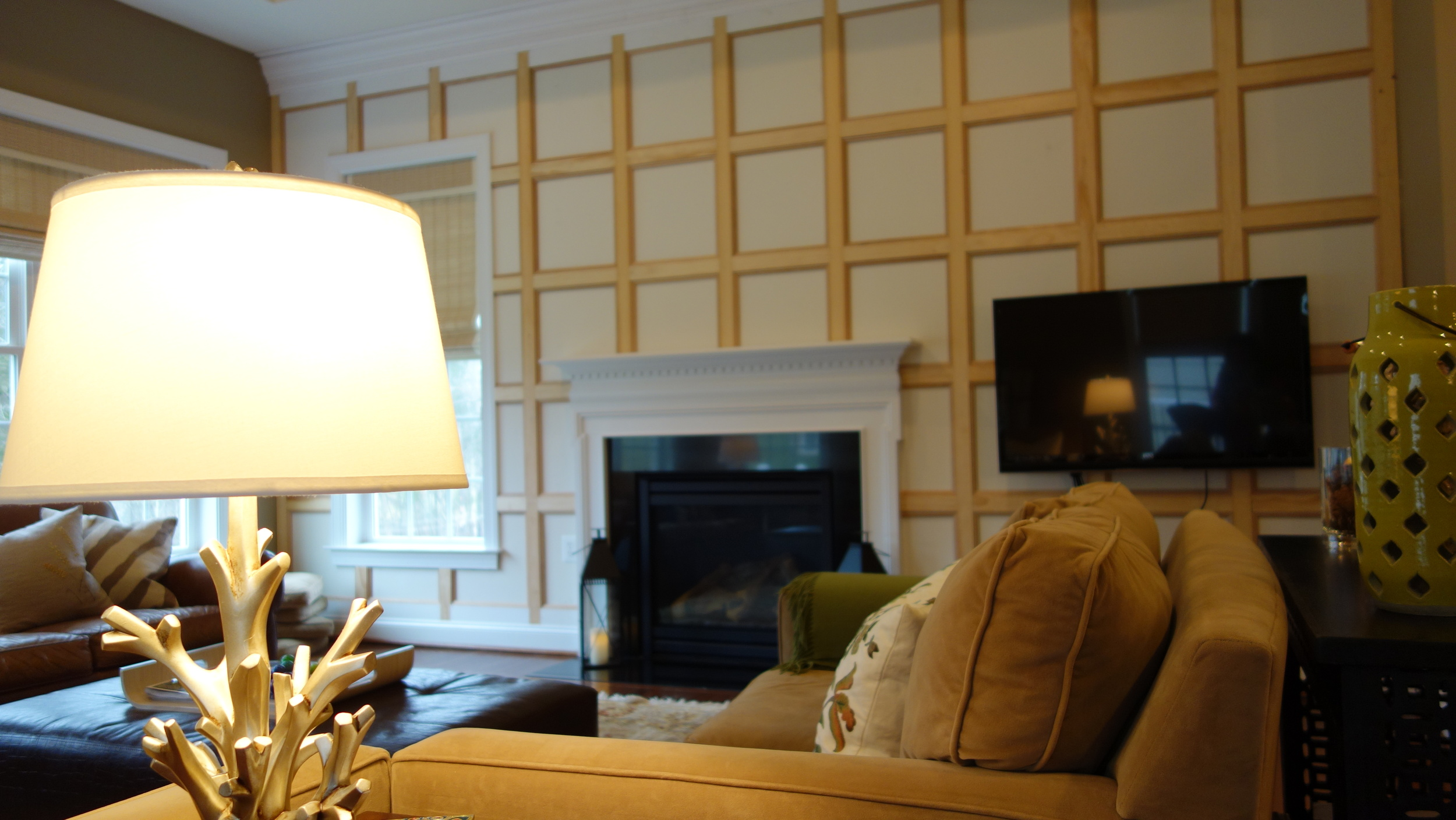 great room wall paneling, pre-paint