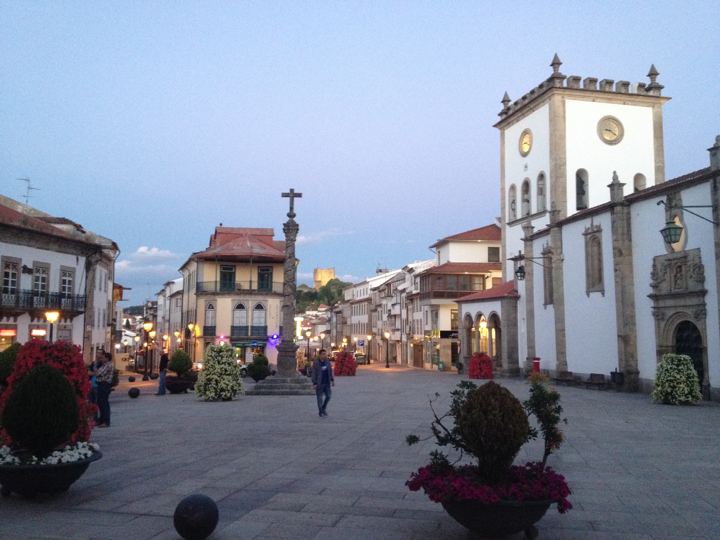 Square in Braganca at sunset, we just walked out of a great dinner at Solar Bragancano and found people starting to gather for a folk parade on the side of the street