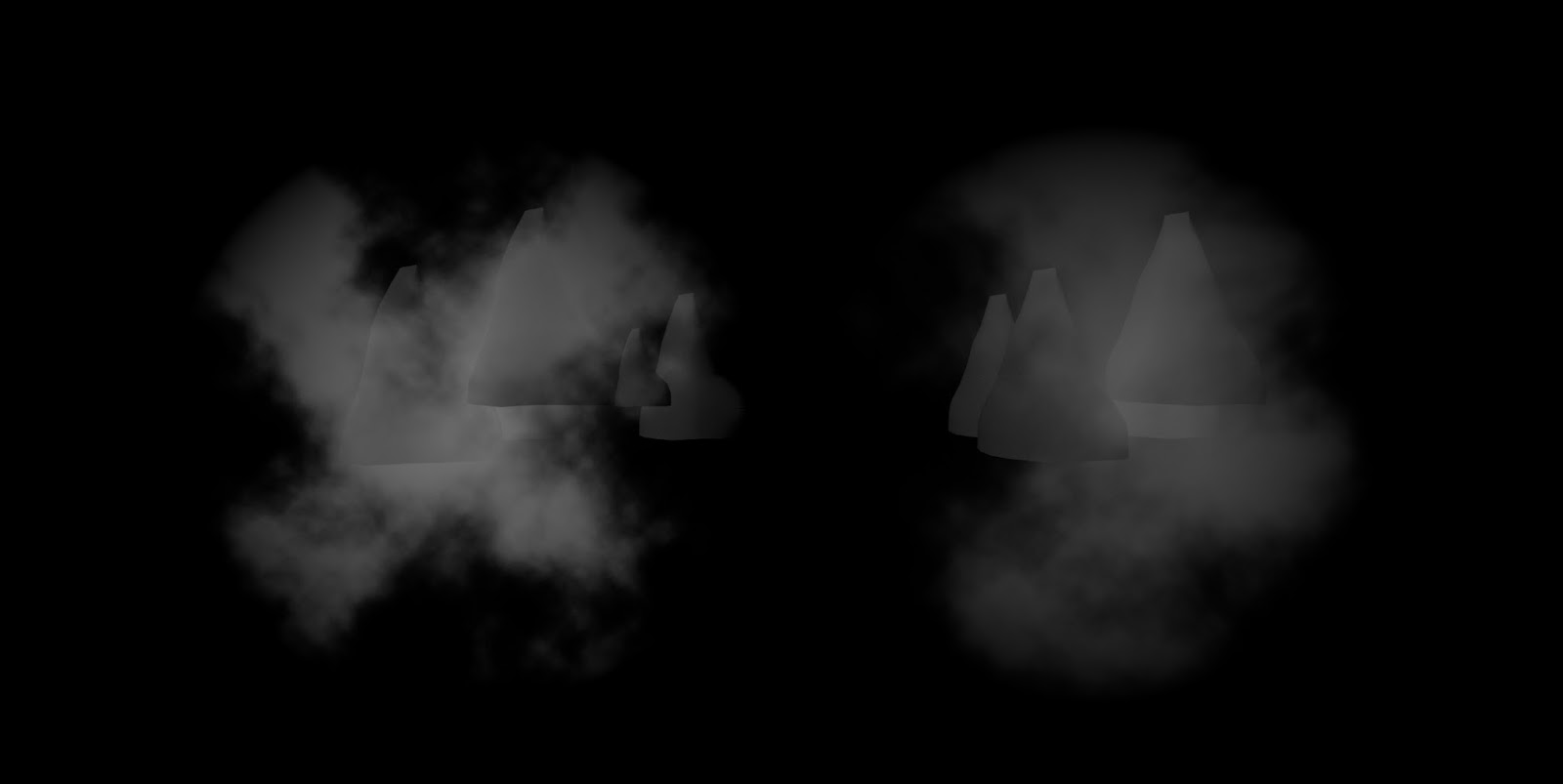 UE4 fog Sheet (left) and my optimized fog sheet (right)