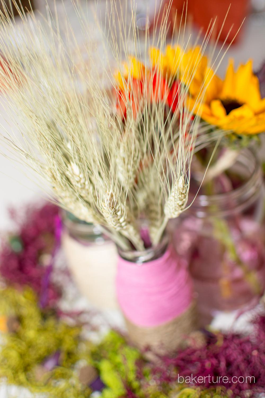 Walker's Overlook Wedding rustic hippy flower centerpiece reception Photo