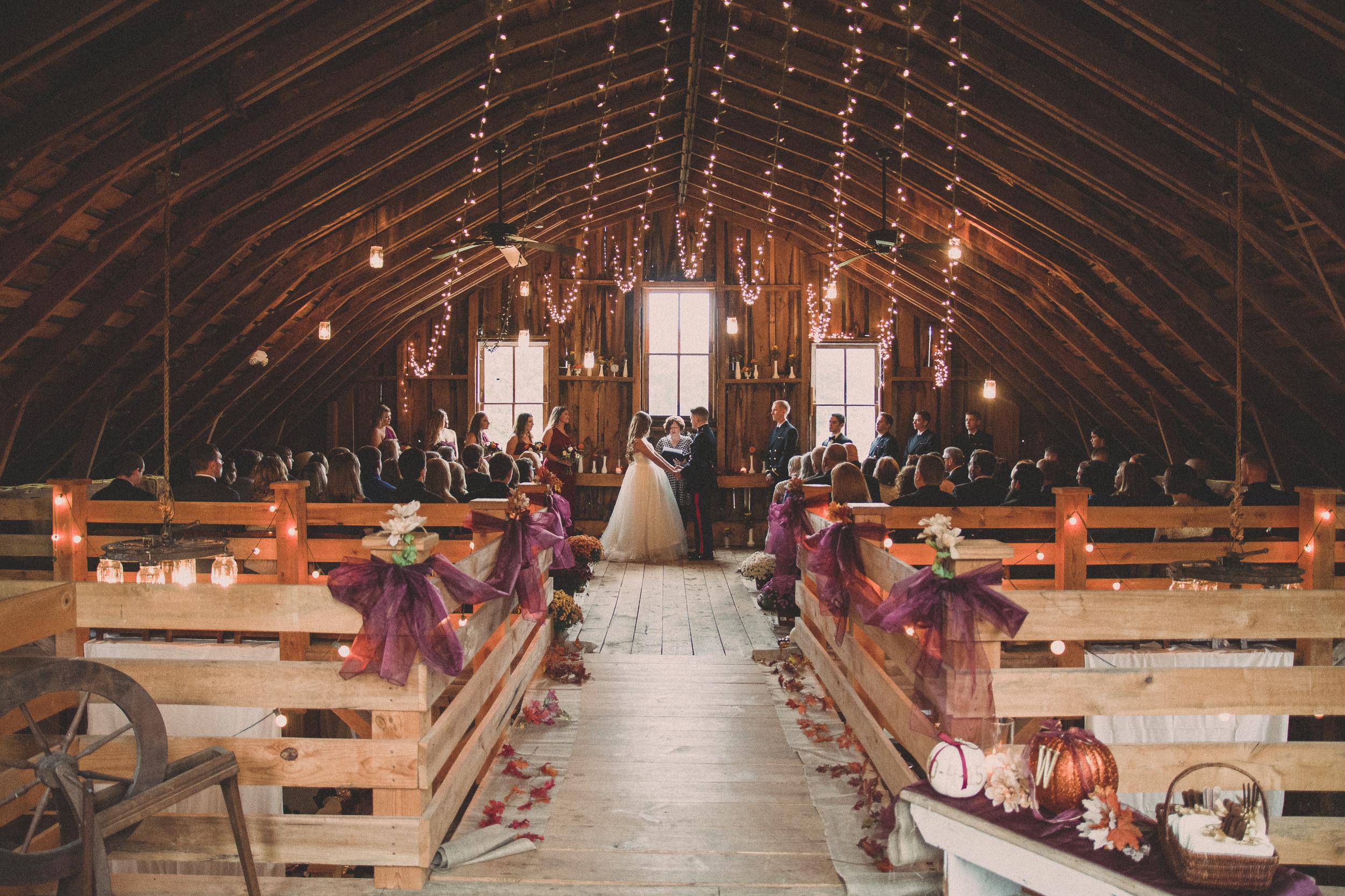 The Glasgow Farm Wedding rustic fall ceremony Photo