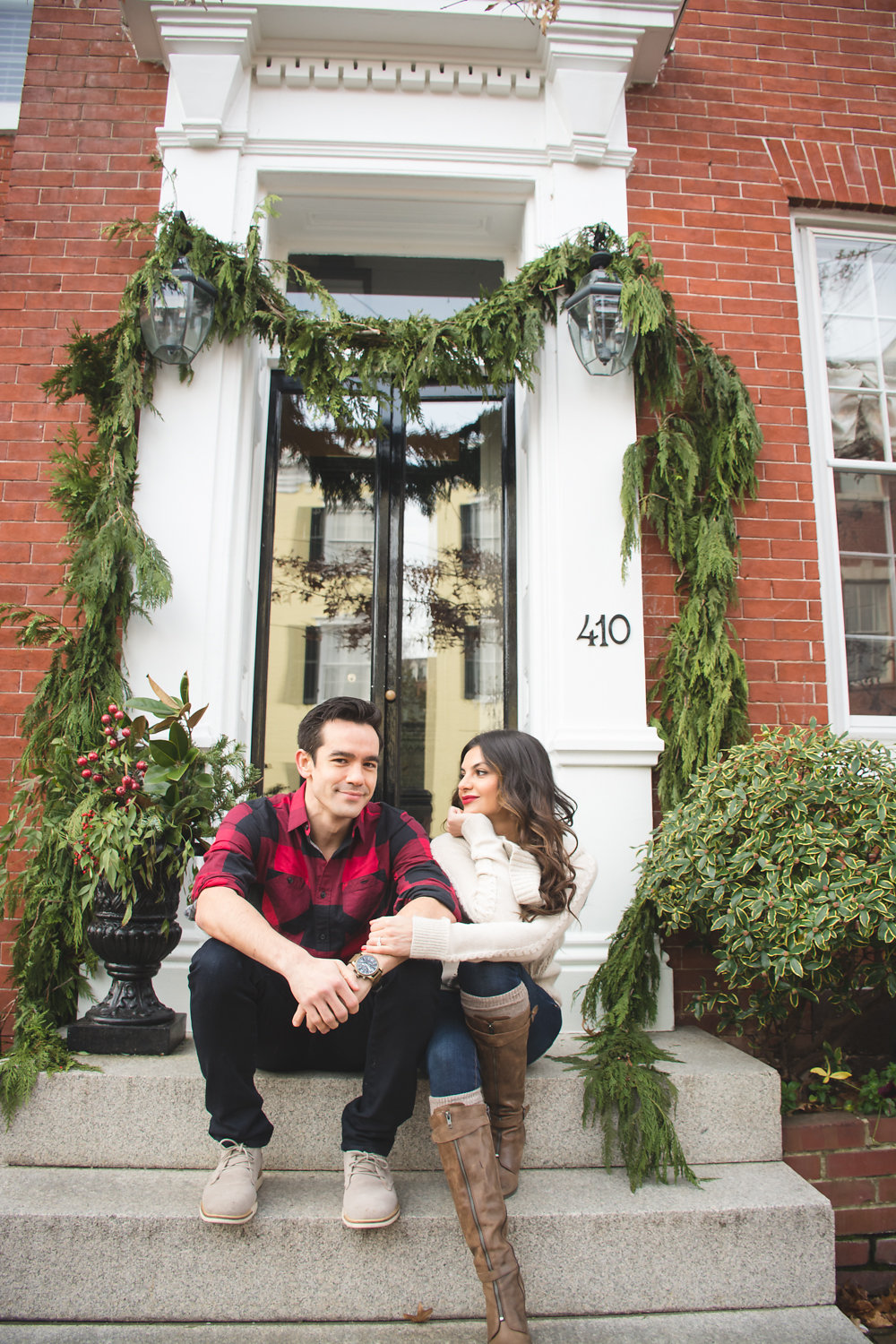 Old Town Alexandria Engagement couple on stoop Photo