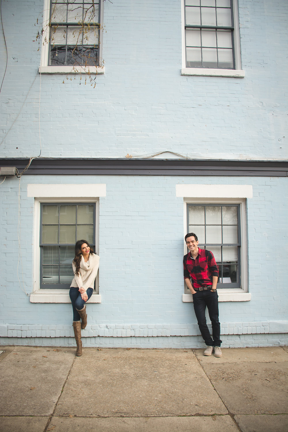 Old Town Alexandria Engagement couple on brick wall Photo