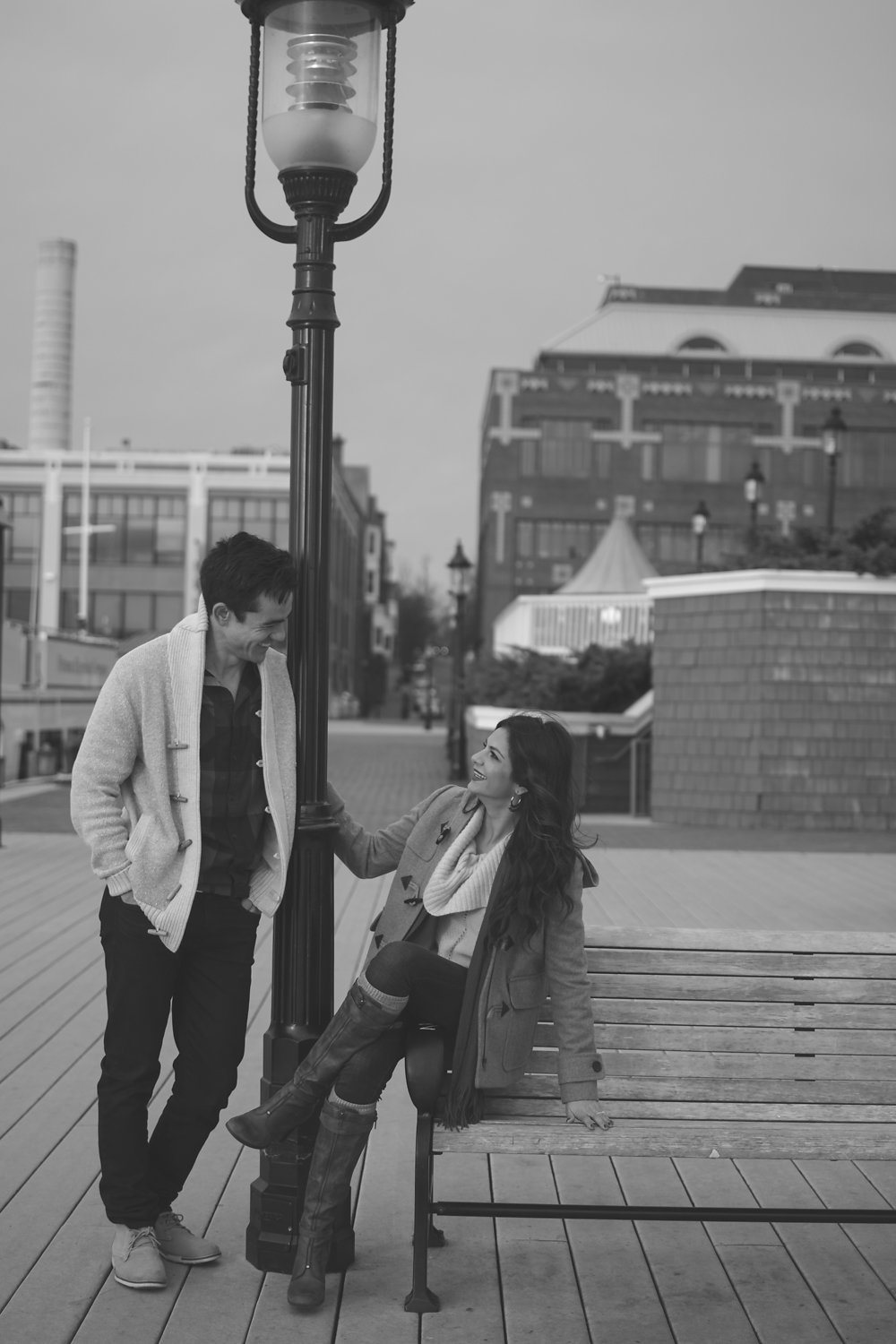 Old Town Alexandria Engagement couple leaning on street lamp Photo