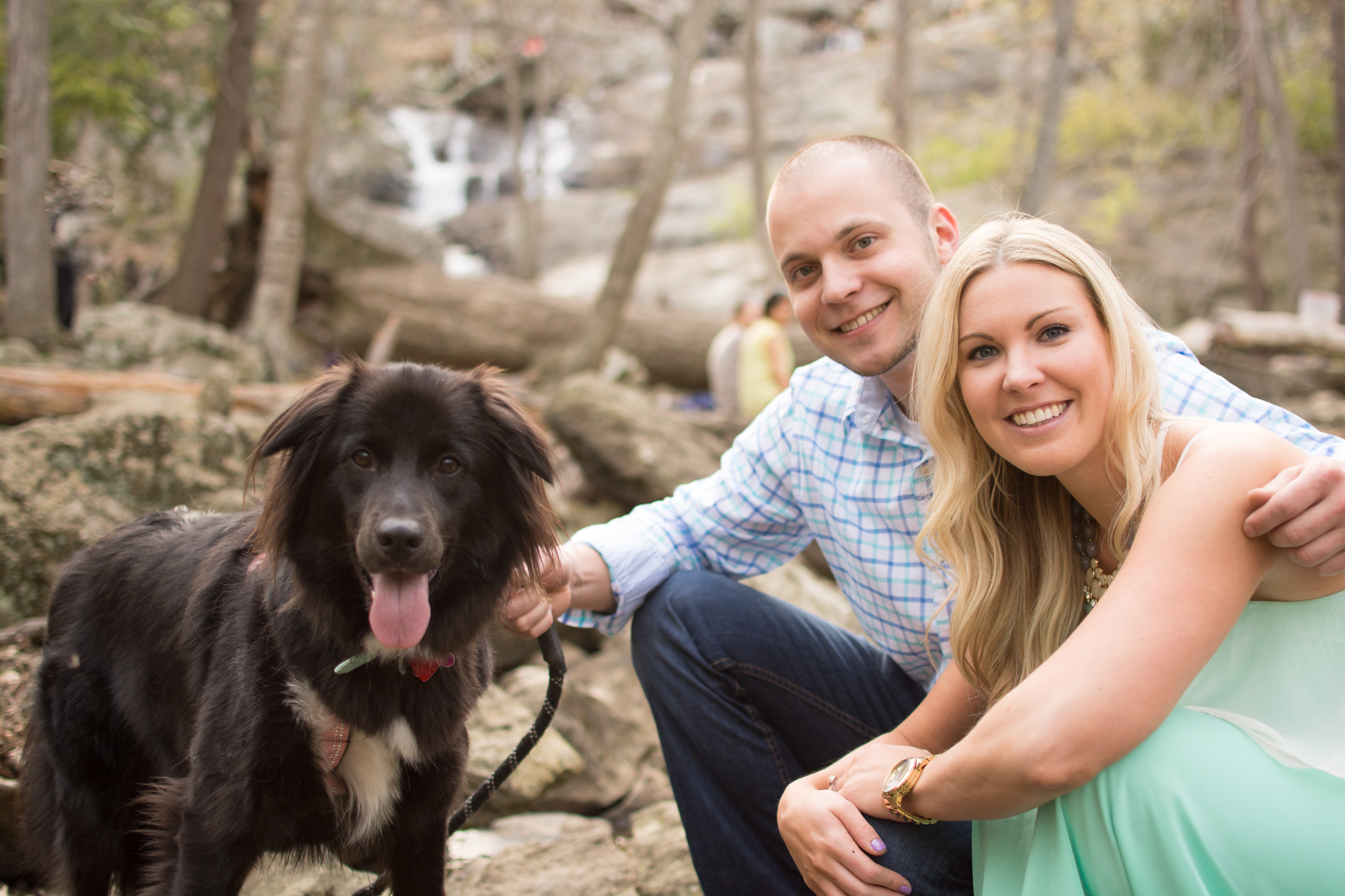 cunningham falls engagement session photo couple and dog