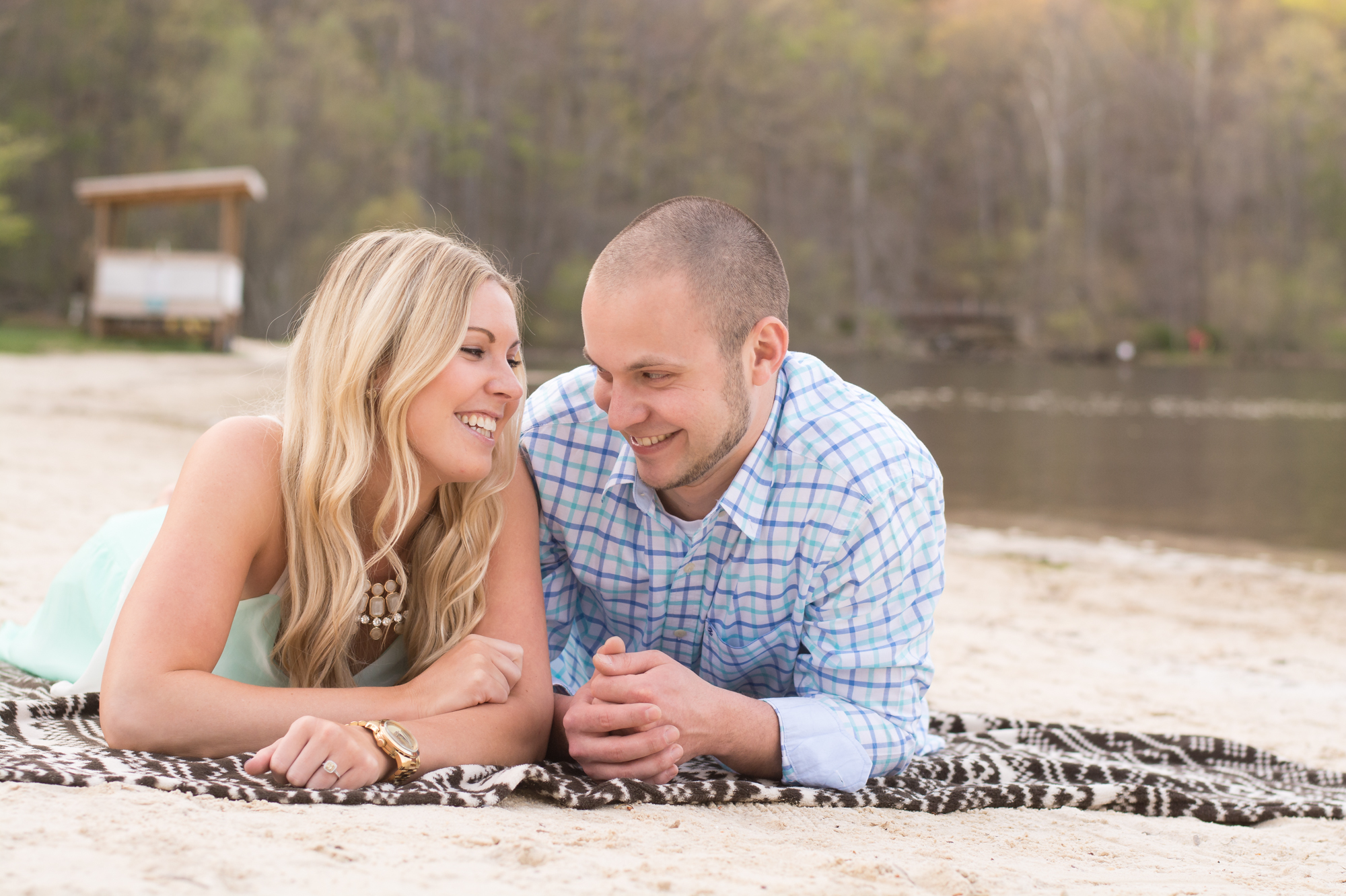 cunningham falls engagement session photo couple on beach