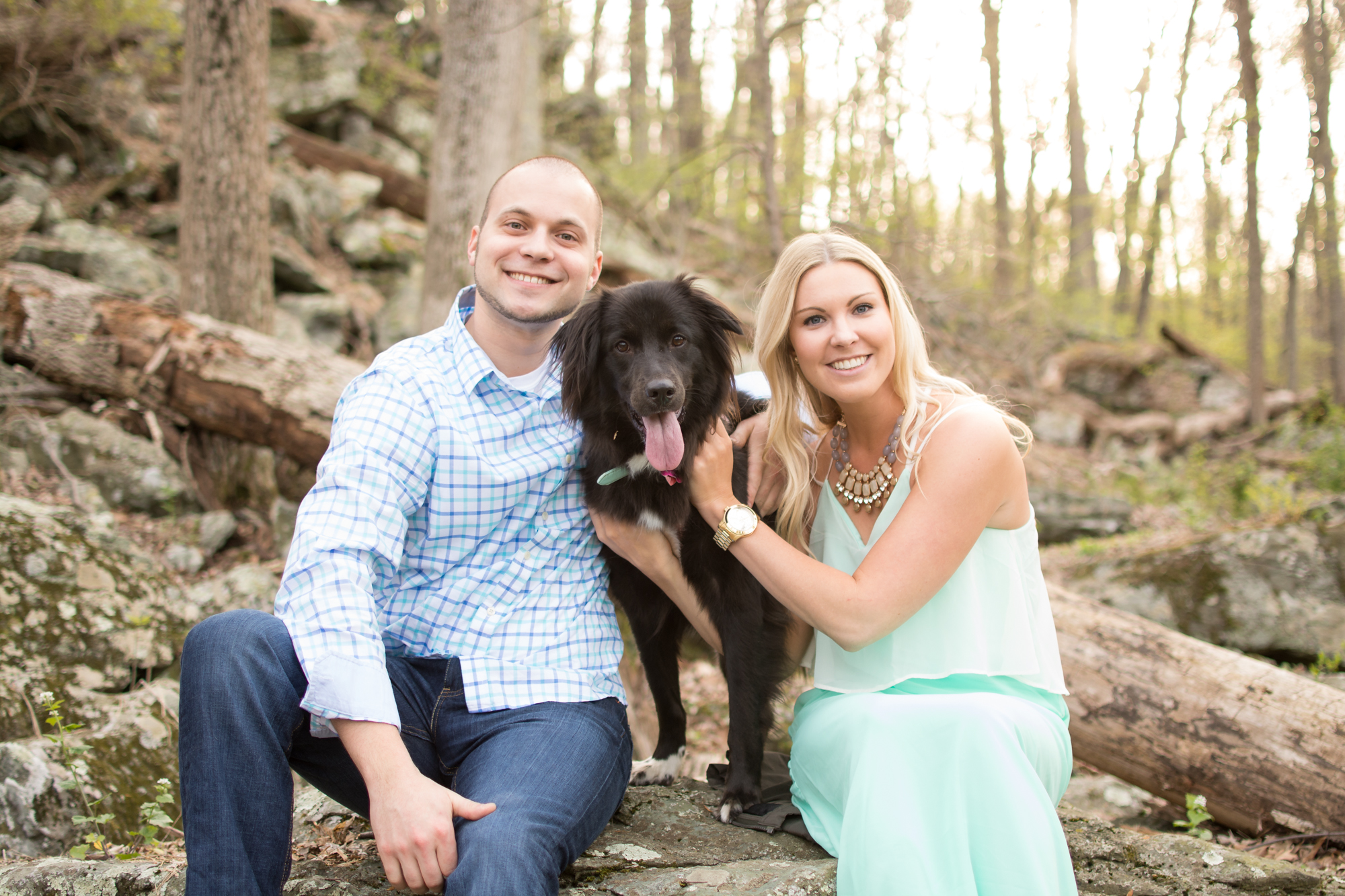 cunningham falls engagement session photo couple with dog