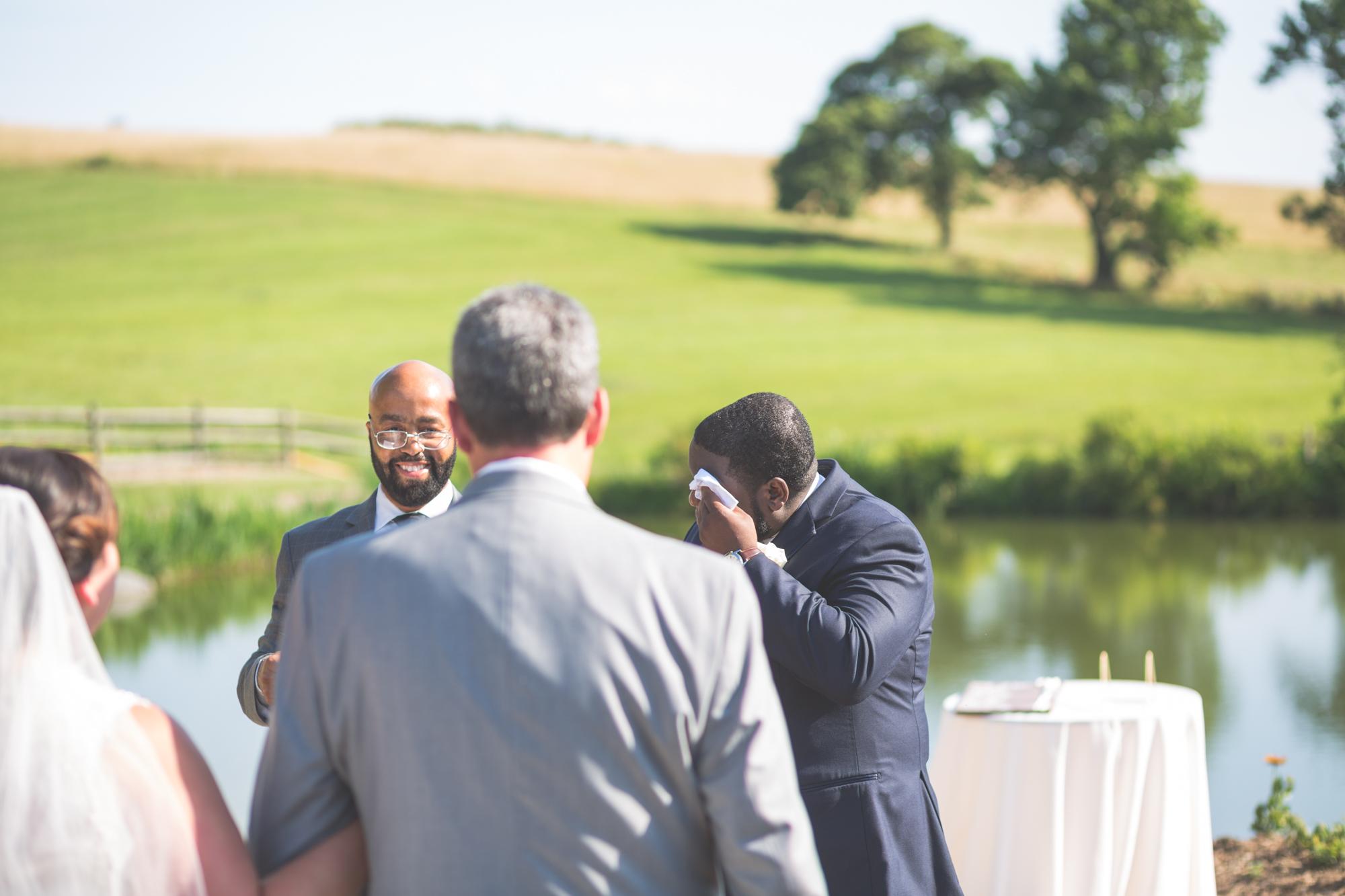 groom at alter glen ellen farm