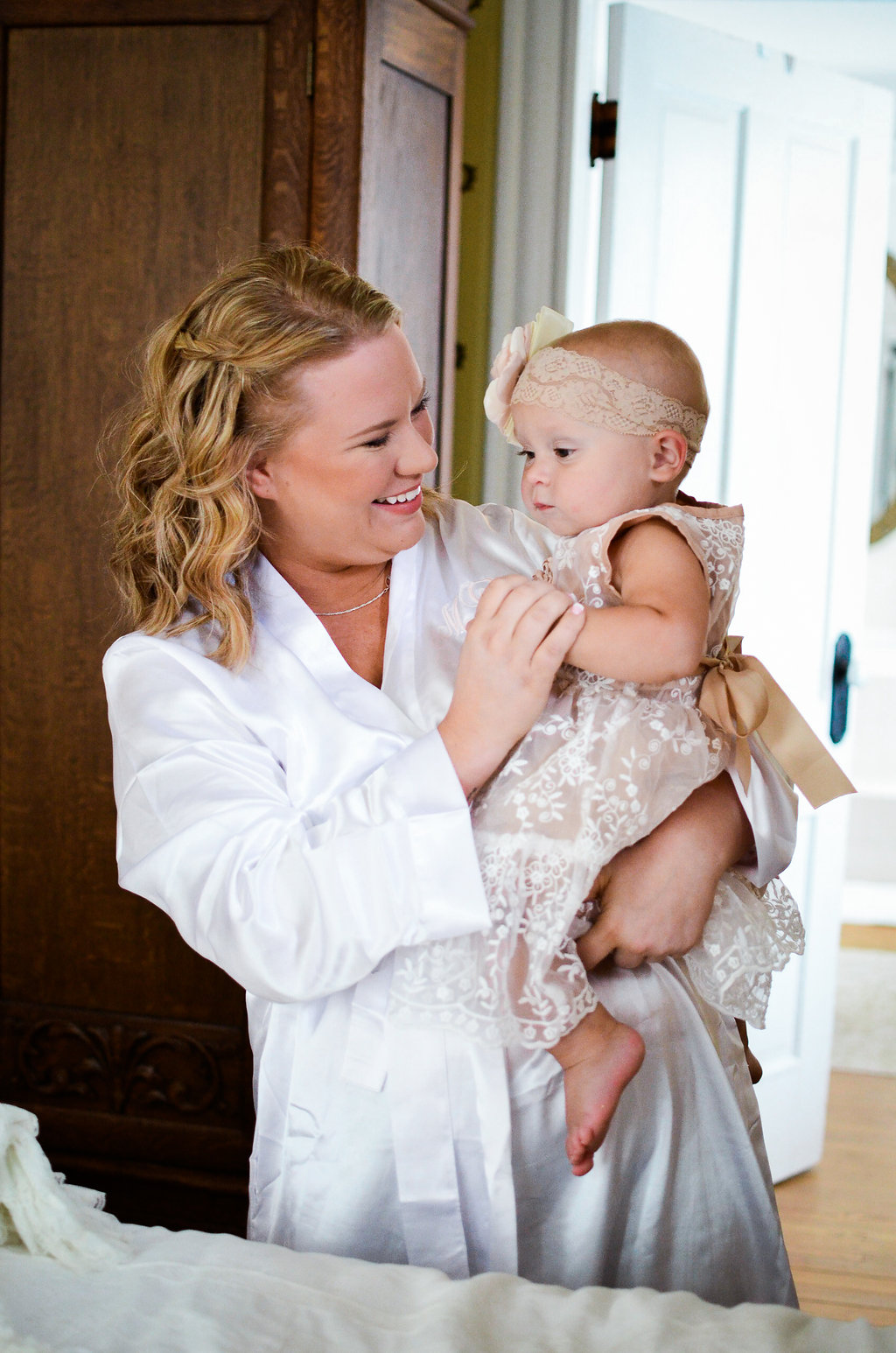country bride with daughter photo