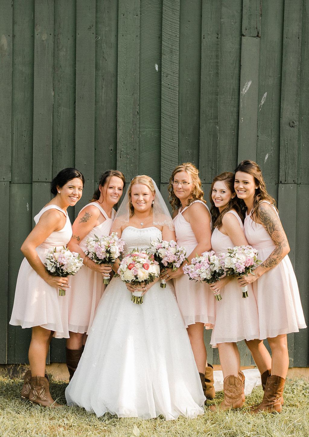 country rustic bride and bridesmaids wedding photo