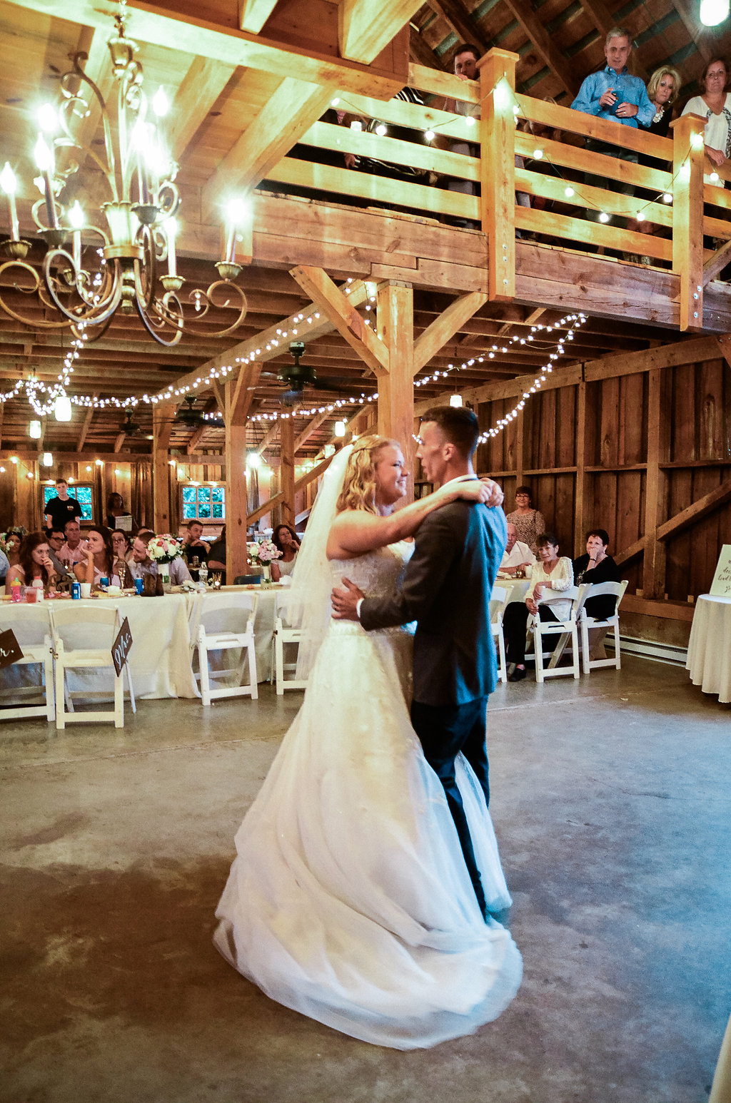 country bride and groom first dance photo