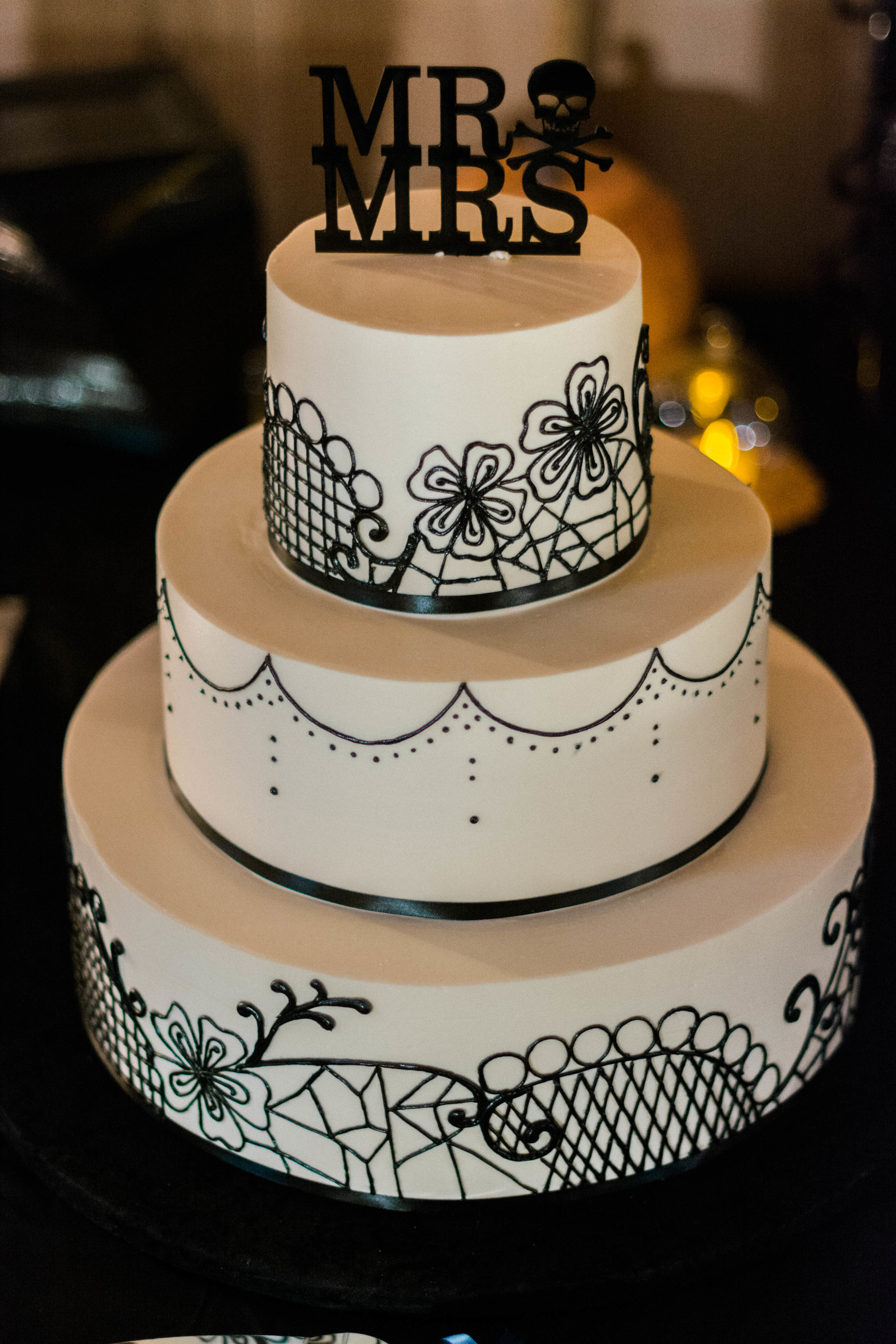 halloween skull decorated wedding cake photo