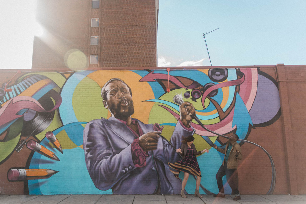 marvin gaye mural engagement session photo