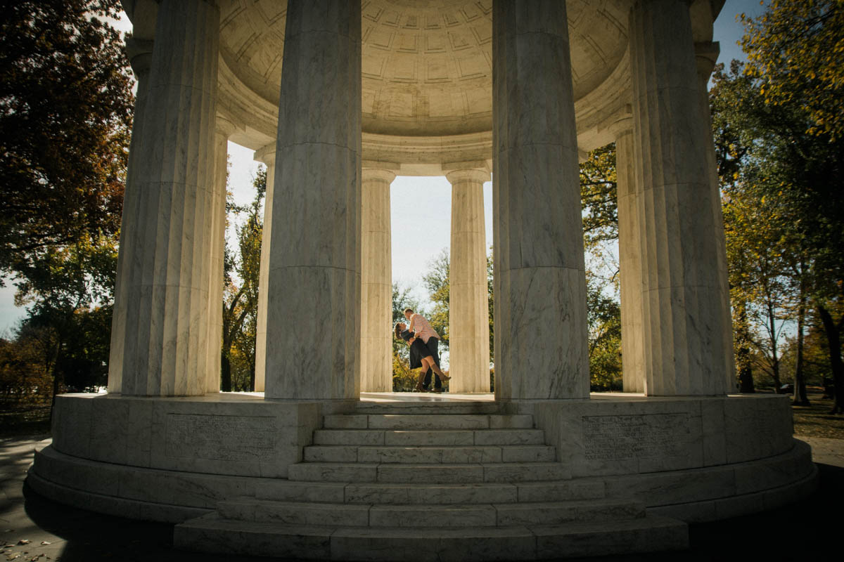 WW1 Memorial Washington DC fall Engagement Session Photo