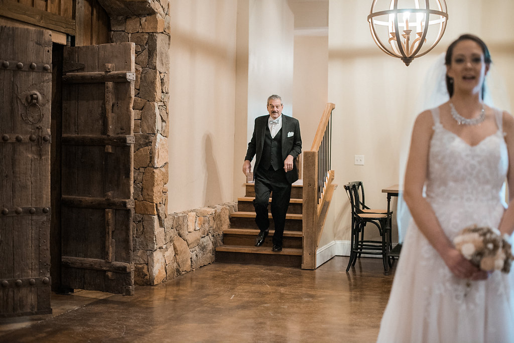 father first look at stone tower winery wedding photo