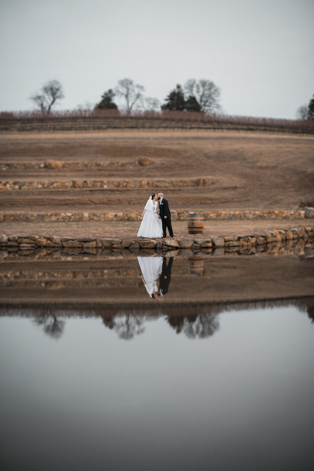 bride and groom vineyard portrait at stone tower winery wedding photo