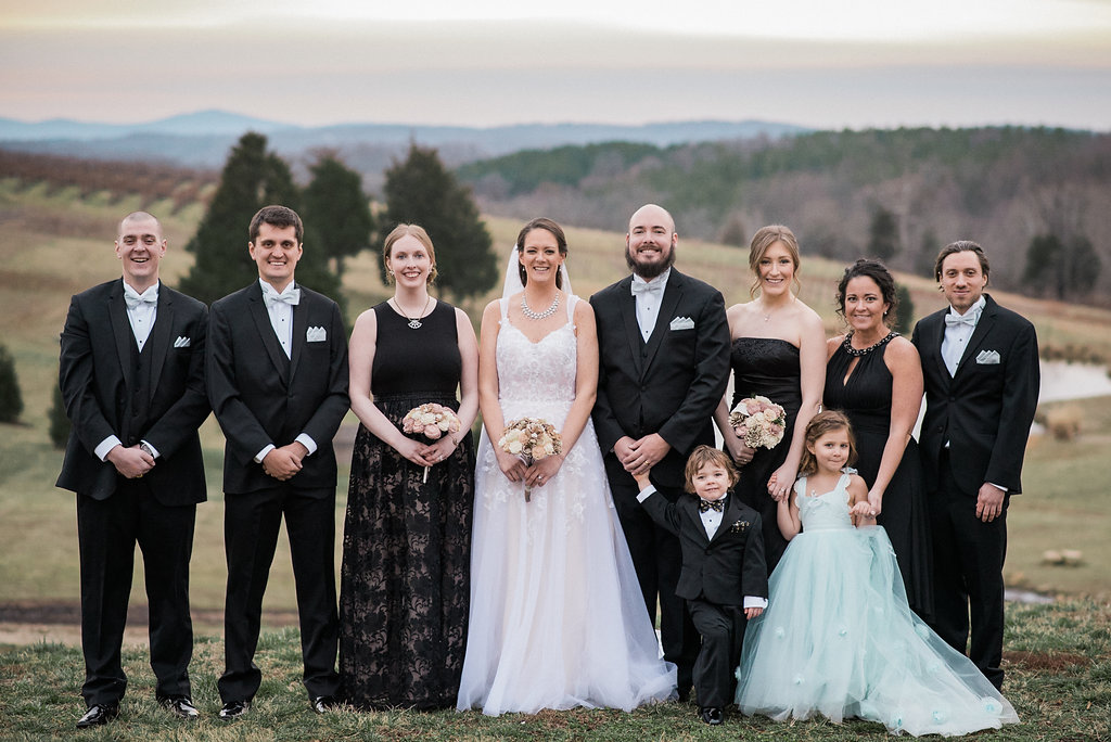 bridal party and bride at stone tower winery photo