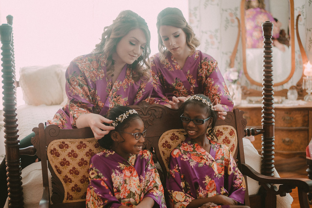 Bridesmaids and flower girls in robes