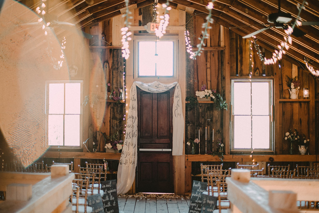 Wedding ceremony space with flowers