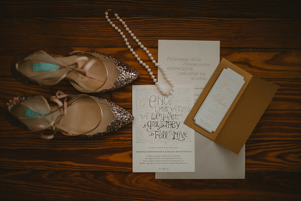 Wedding shoes and invitation and jewelry