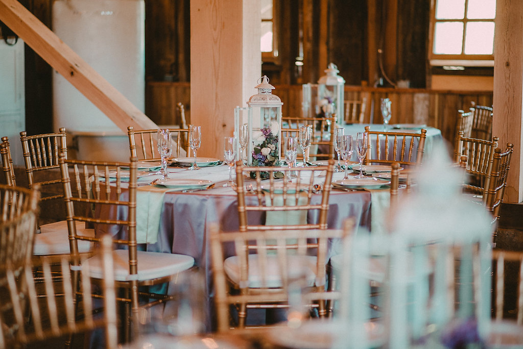 Wedding reception tables and lights
