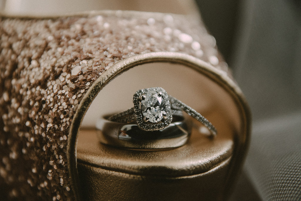 Engagement ring in shoe
