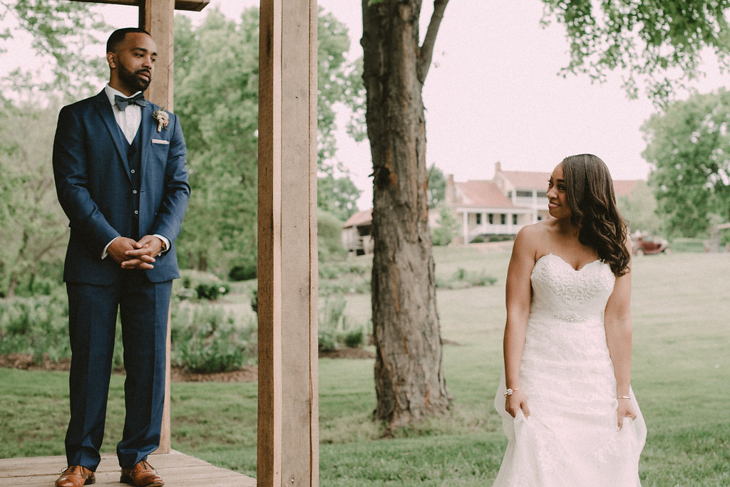 First look for bride and groom