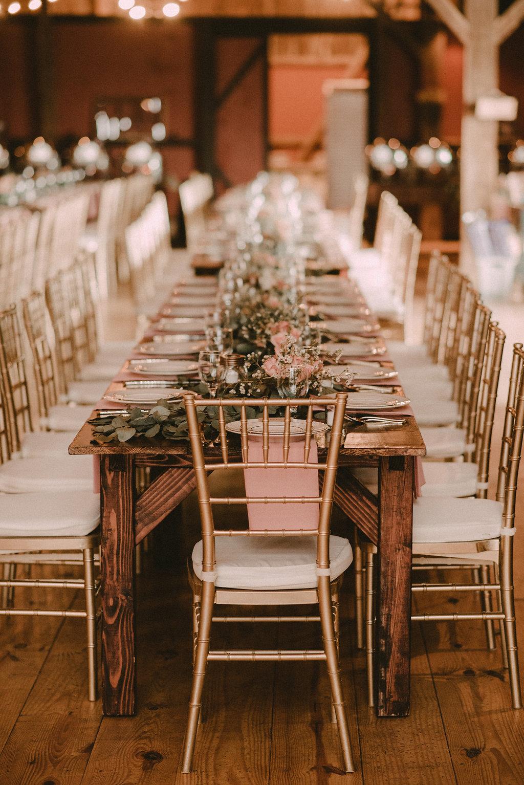 rustic table setting decor at riverside on the Potomac wedding photo