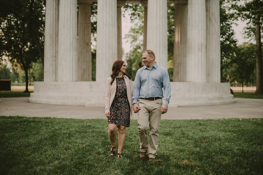 engaged couple at ww1 memorial in Washington DC photo