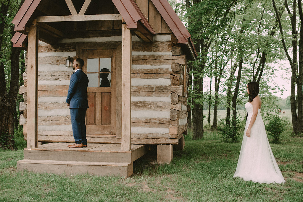 bride and groom first look at riverside on the Potomac  venue photo