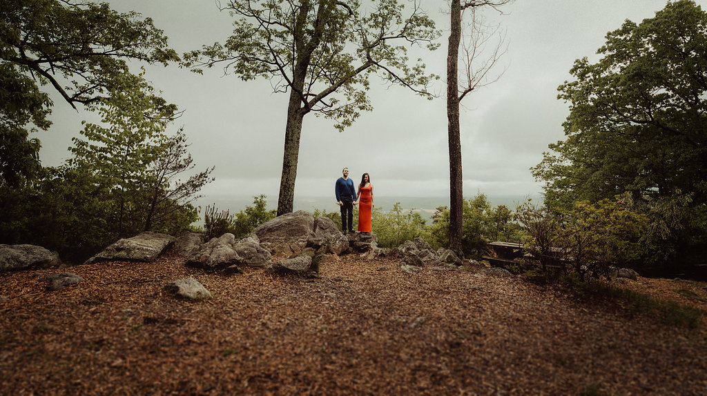 Panorama of couple on mountain